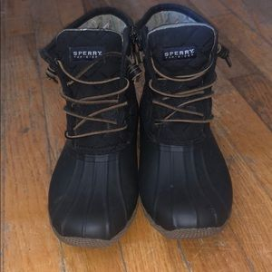 Sperry black duck boots